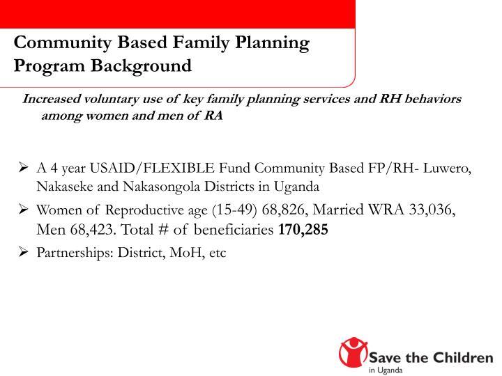 Community Based Family Planning Program Background