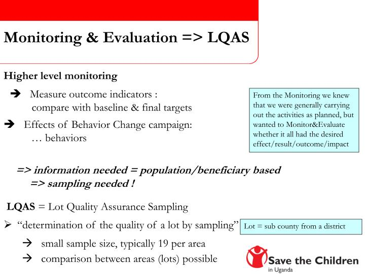 Monitoring & Evaluation => LQAS