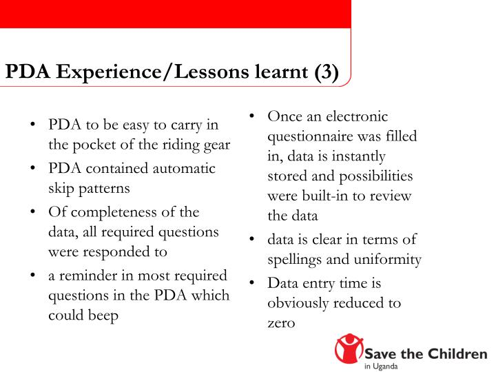 PDA Experience/Lessons learnt (3)