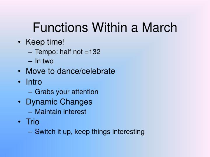 Functions Within a March