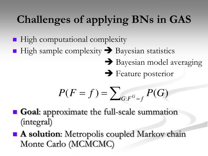 Challenges of applying BNs in GAS