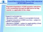 council discussion policy review ghg reductions intertanko positions