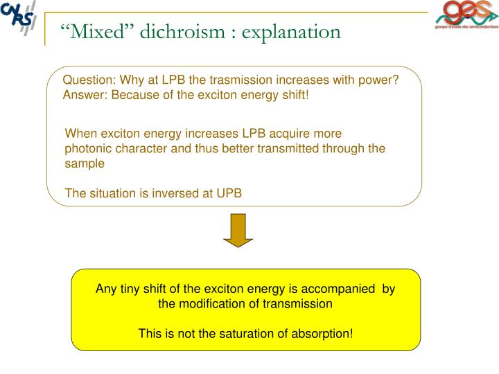 """Mixed"" dichroism : explanation"