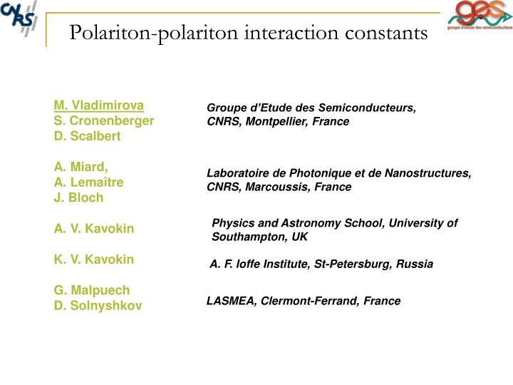 Polariton polariton interaction constants