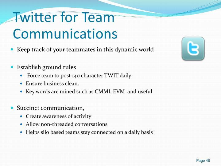 Twitter for Team Communications