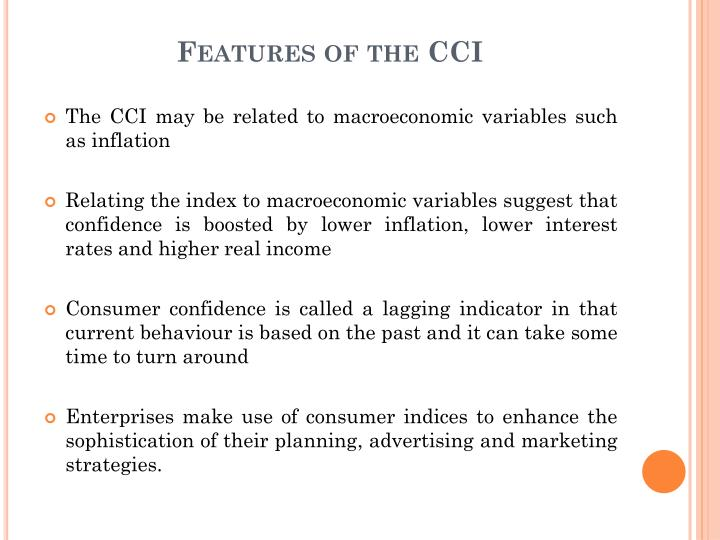 Features of the CCI