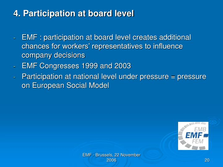 4. Participation at board level
