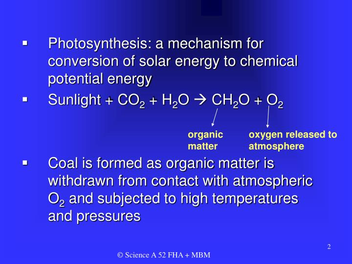 Photosynthesis: a mechanism for conversion of solar energy to chemical potential energy
