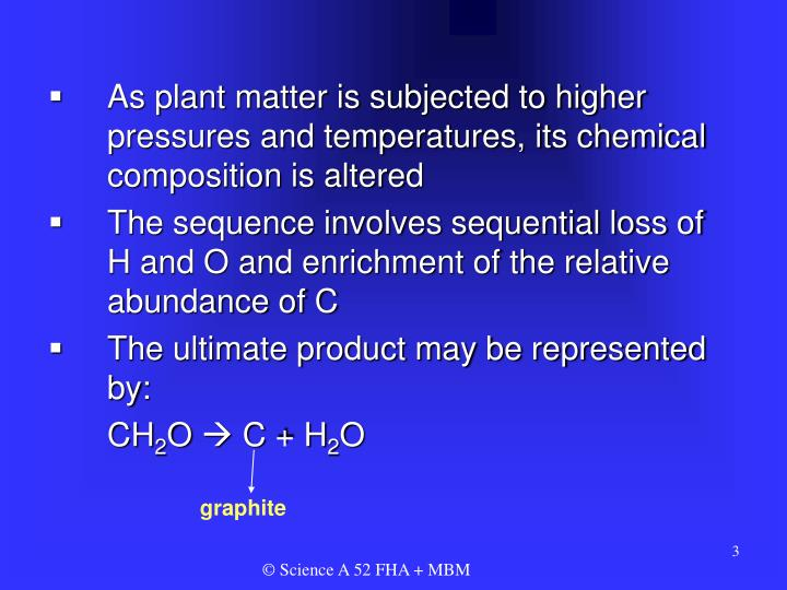 As plant matter is subjected to higher pressures and temperatures, its chemical composition is alter...