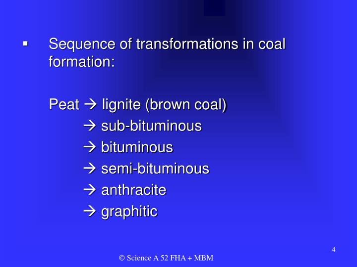 Sequence of transformations in coal formation: