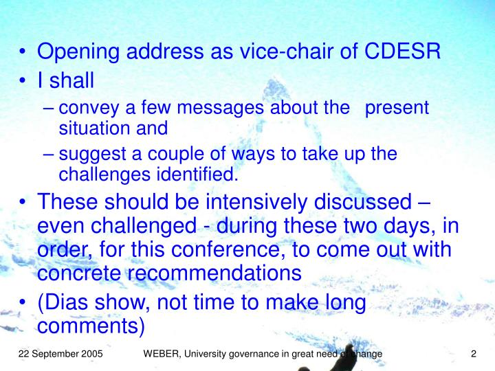 Opening address as vice-chair of CDESR