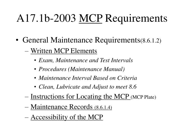 A17 1b 2003 mcp requirements