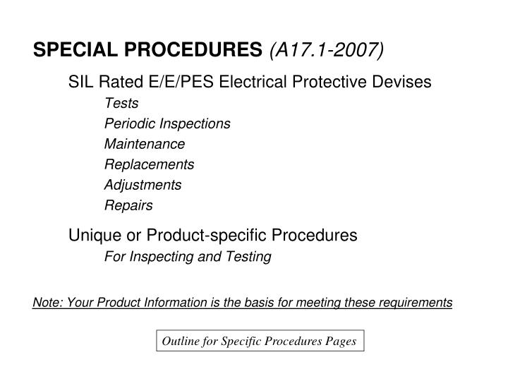 Outline for Specific Procedures Pages