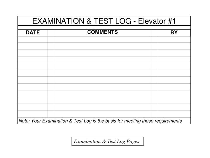 Examination & Test Log Pages