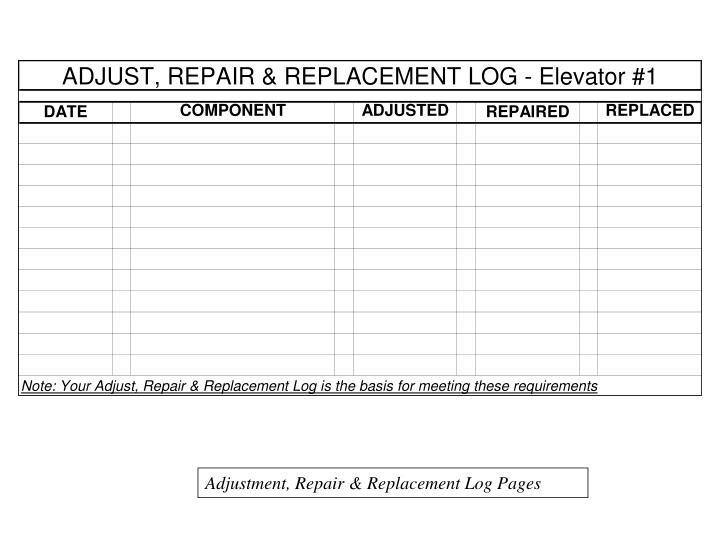 Adjustment, Repair & Replacement Log Pages