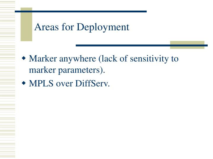 Areas for Deployment