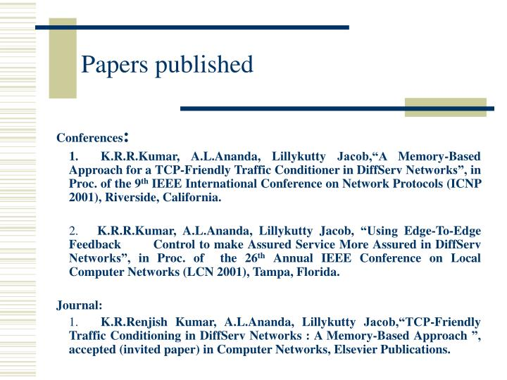 Papers published