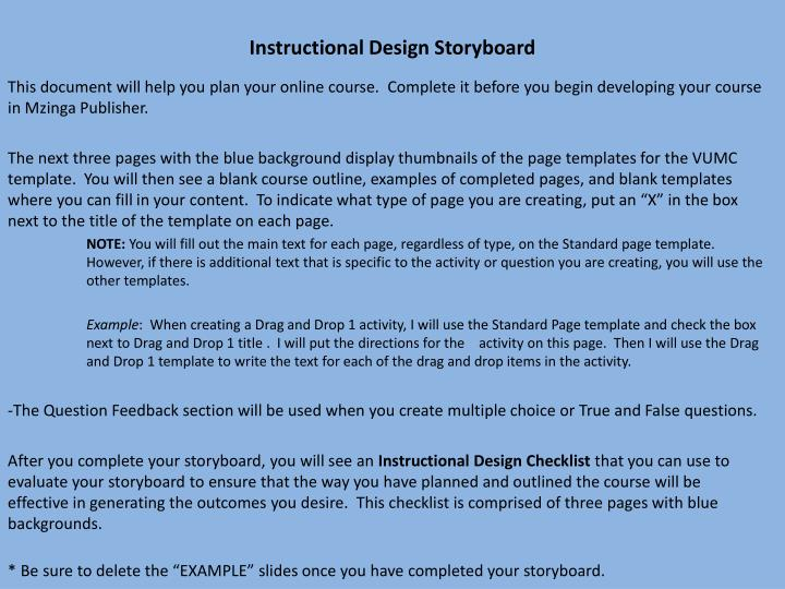 Instructional Design Storyboard