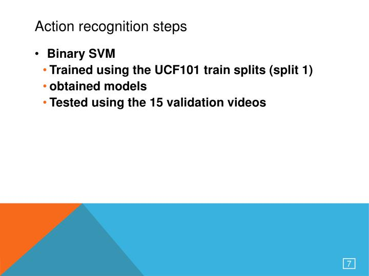 Action recognition steps