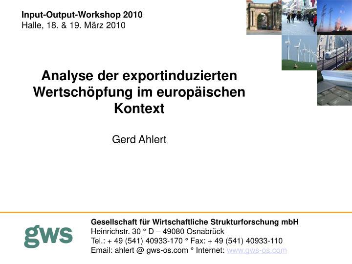 Input-Output-Workshop 2010