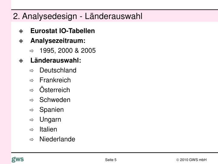 2. Analysedesign - Länderauswahl