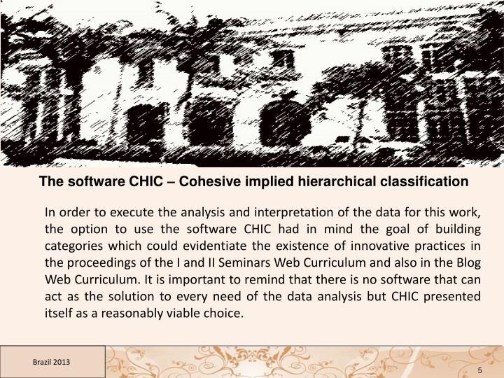 The software CHIC – Cohesive implied hierarchical classification