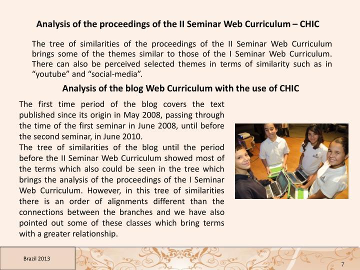 Analysis of the proceedings of the II Seminar Web Curriculum – CHIC