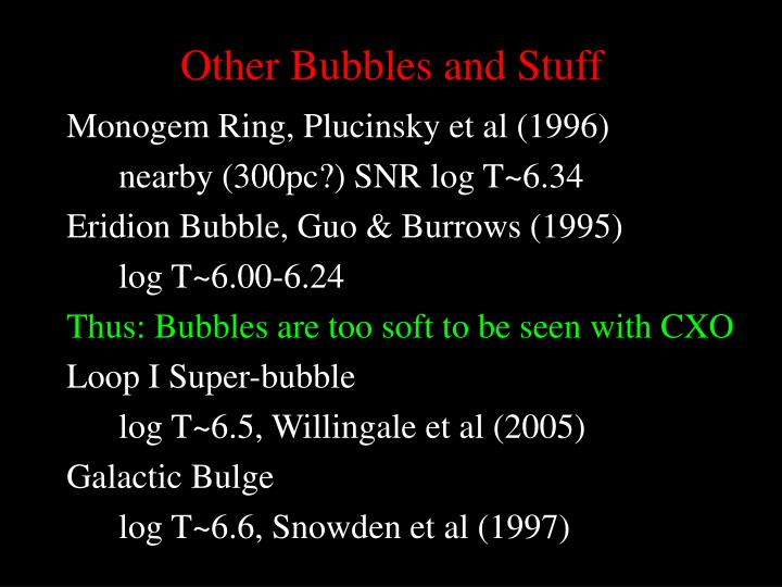 Other Bubbles and Stuff