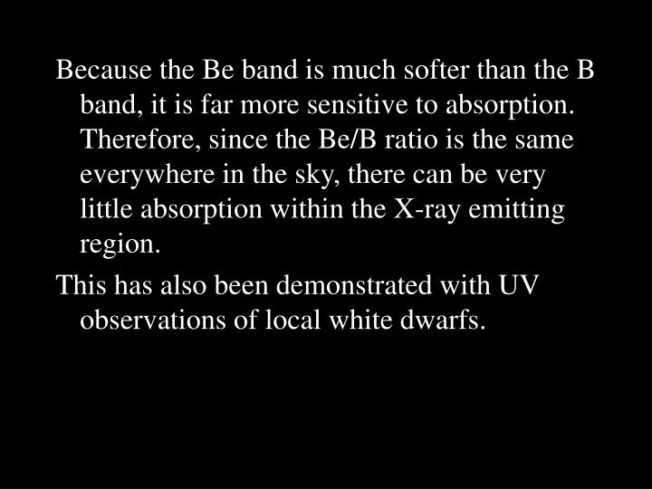 Because the Be band is much softer than the B band, it is far more sensitive to absorption. Therefore, since the Be/B ratio is the same everywhere in the sky, there can be very little absorption within the X-ray emitting region.