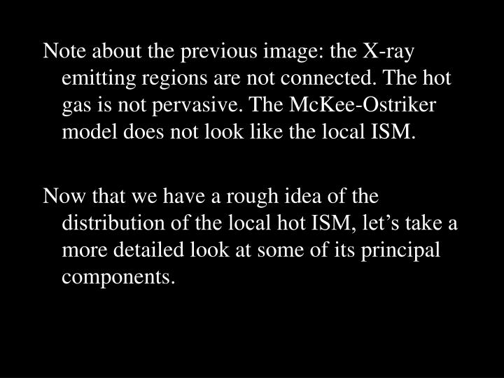 Note about the previous image: the X-ray emitting regions are not connected. The hot gas is not pervasive. The McKee-Ostriker model does not look like the local ISM.