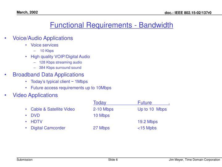 Functional Requirements - Bandwidth