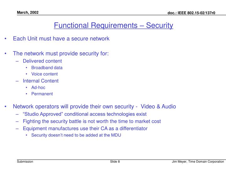 Functional Requirements – Security