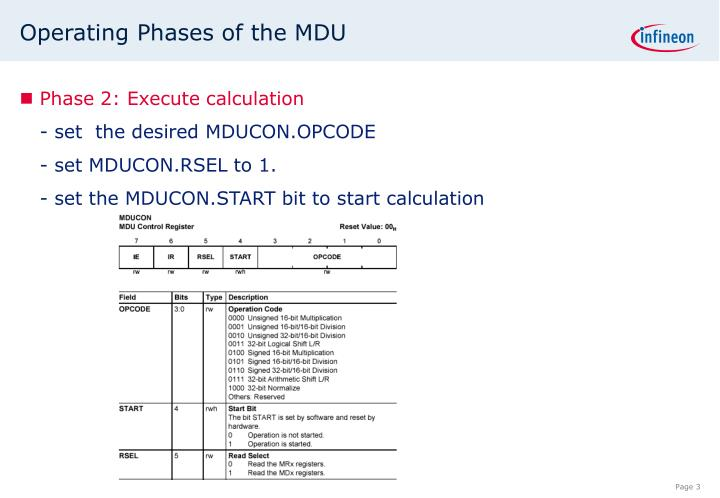 Operating phases of the mdu1