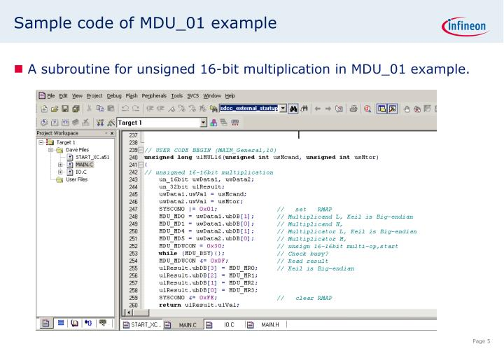 Sample code of MDU_01 example