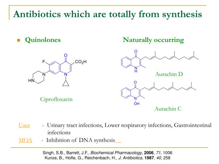 Antibiotics which are totally from synthesis