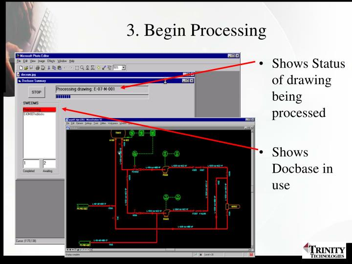 Shows Status of drawing being processed