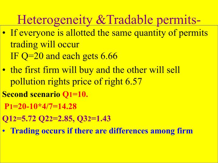 Heterogeneity &Tradable permits-