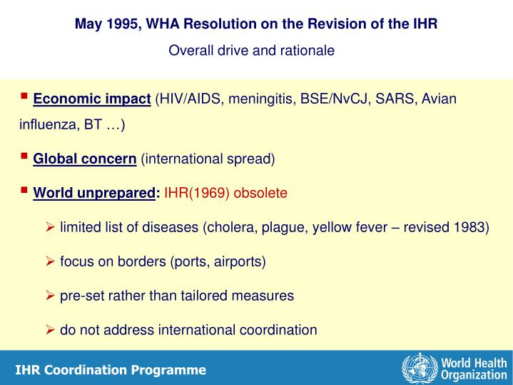 May 1995, WHA Resolution on the Revision of the IHR