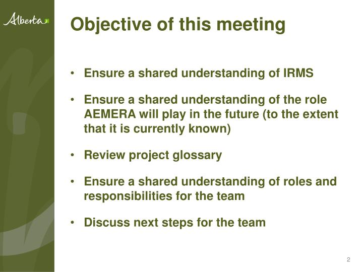 Objective of this meeting