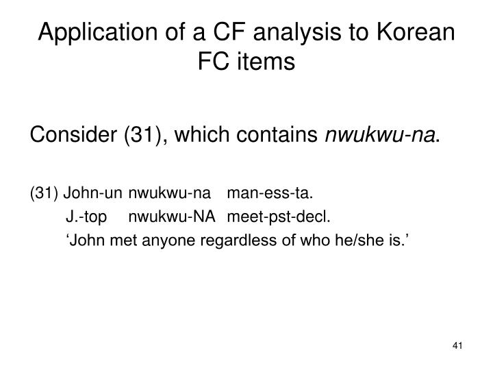 Application of a CF analysis to Korean FC items