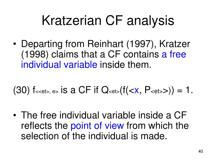 Kratzerian CF analysis
