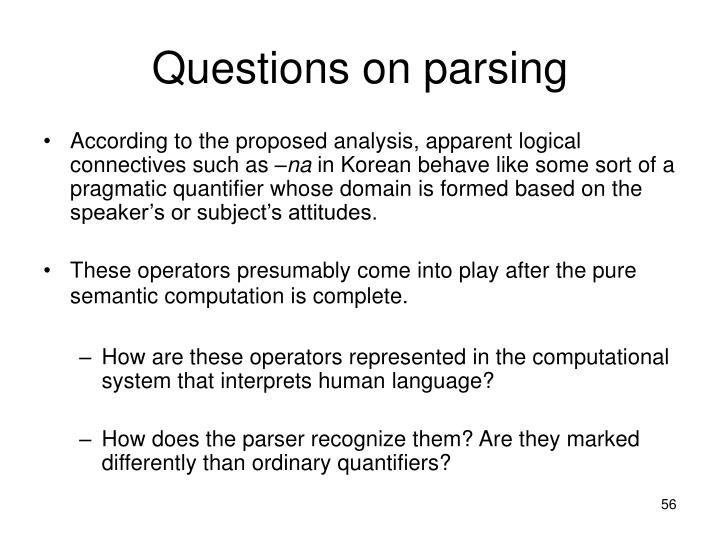 Questions on parsing
