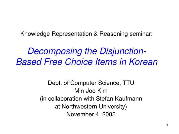 Knowledge Representation & Reasoning seminar: