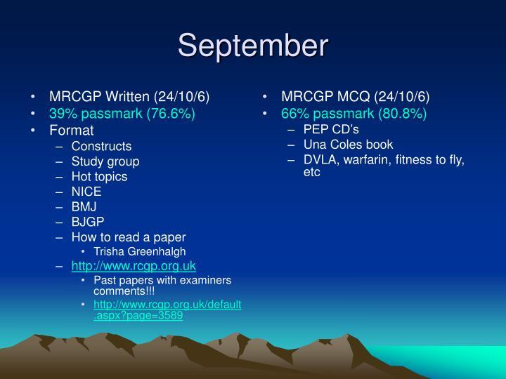MRCGP Written (24/10/6)