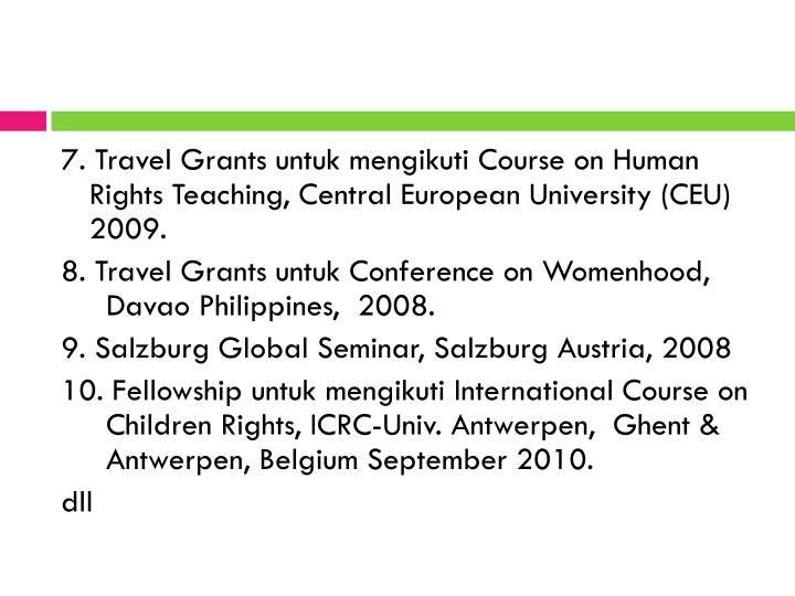 7. Travel Grants