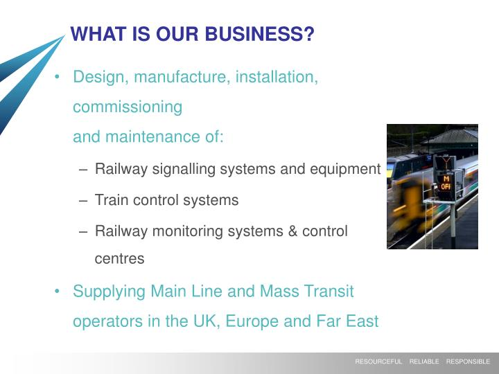 WHAT IS OUR BUSINESS?