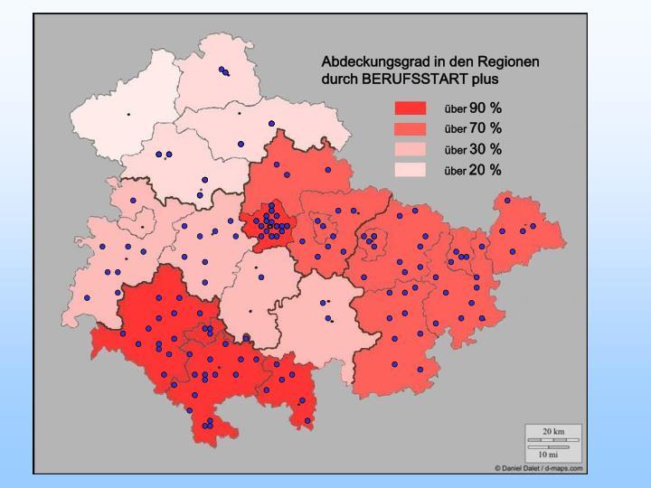 Abdeckungsgrad in den Regionen durch BERUFSSTART plus