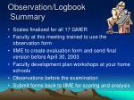 observation logbook summary