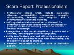 score report professionalism