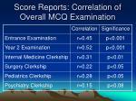 score reports correlation of overall mcq examination